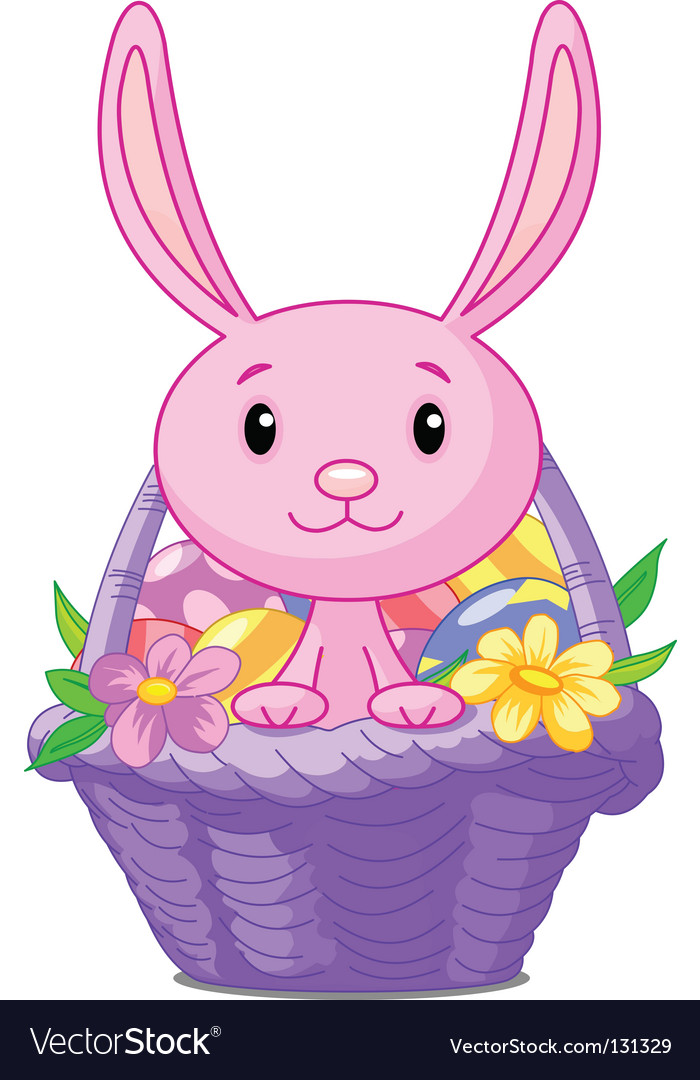 Easter basket with bunny vector | Price: 1 Credit (USD $1)