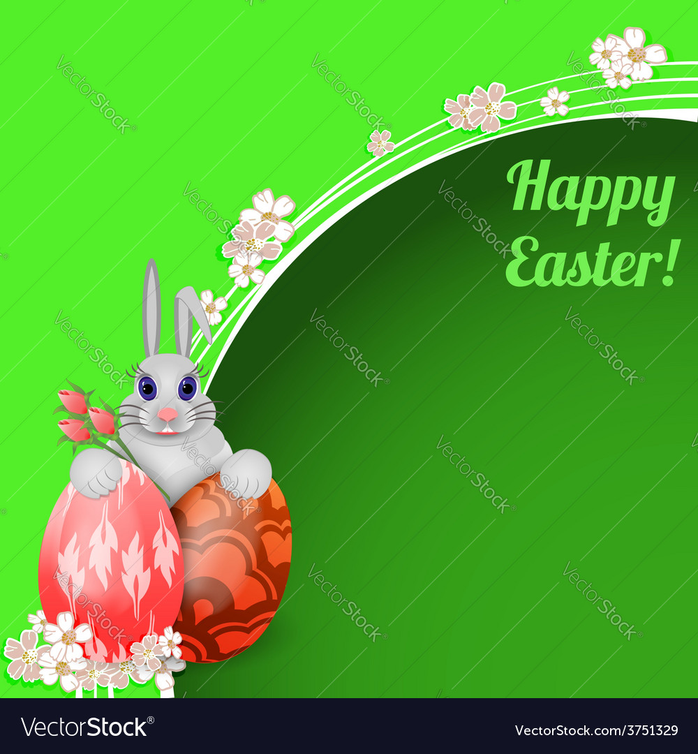 Easter card with rabbit and colored easter eggs vector | Price: 1 Credit (USD $1)