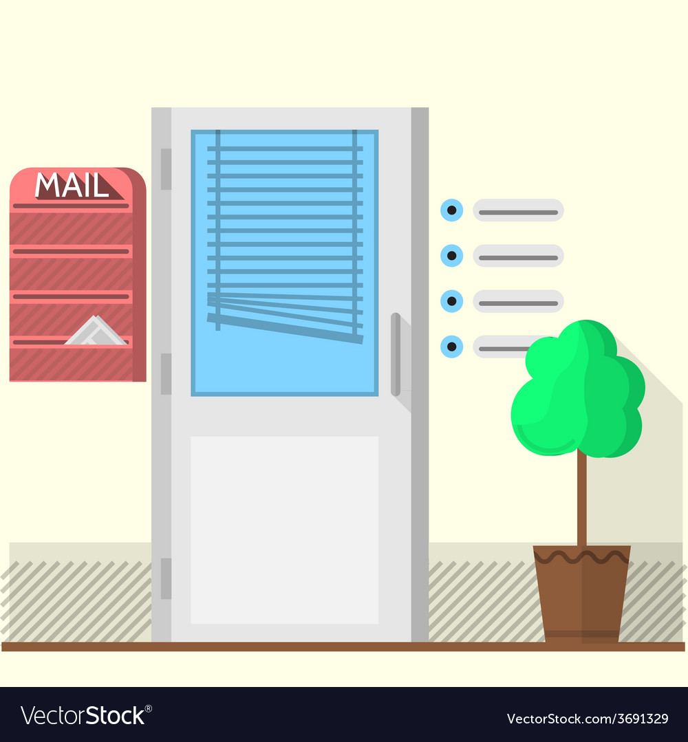 Flat of office doors vector | Price: 1 Credit (USD $1)