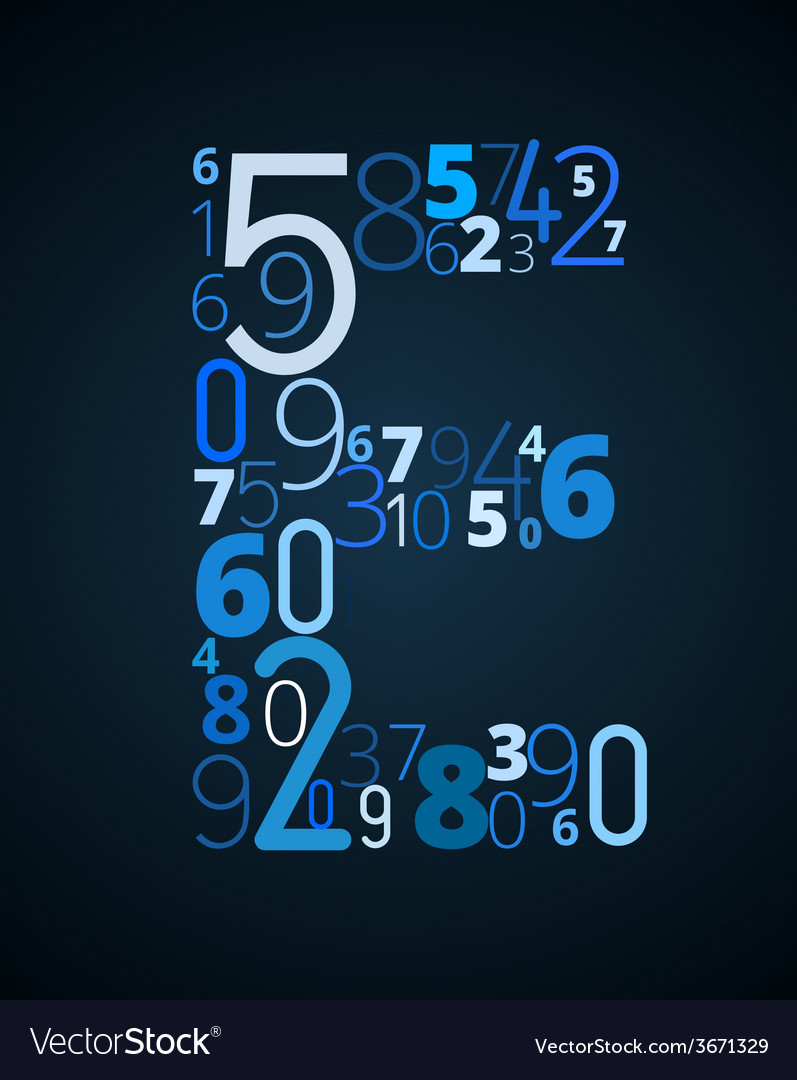 Letter e font from numbers vector | Price: 1 Credit (USD $1)