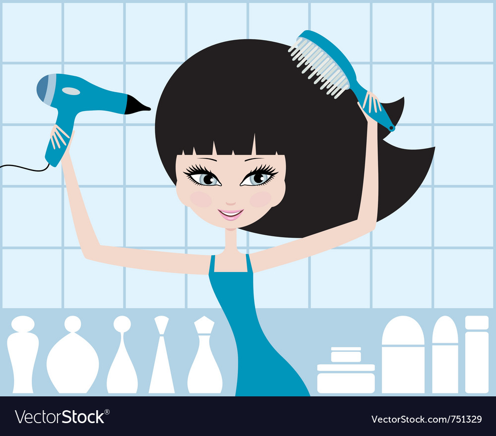 Pretty girl dries hair vector | Price: 3 Credit (USD $3)