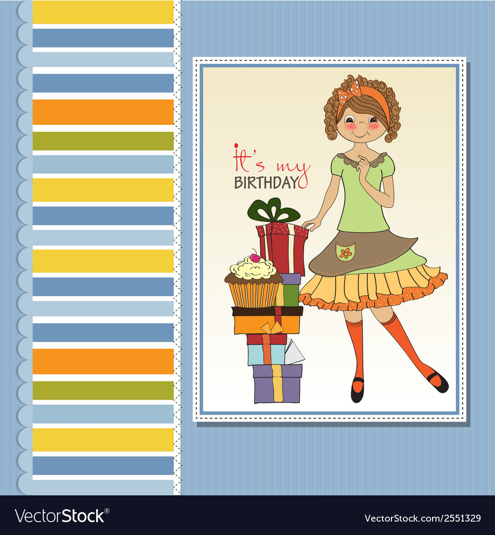 Pretty young girl with gift vector | Price: 1 Credit (USD $1)