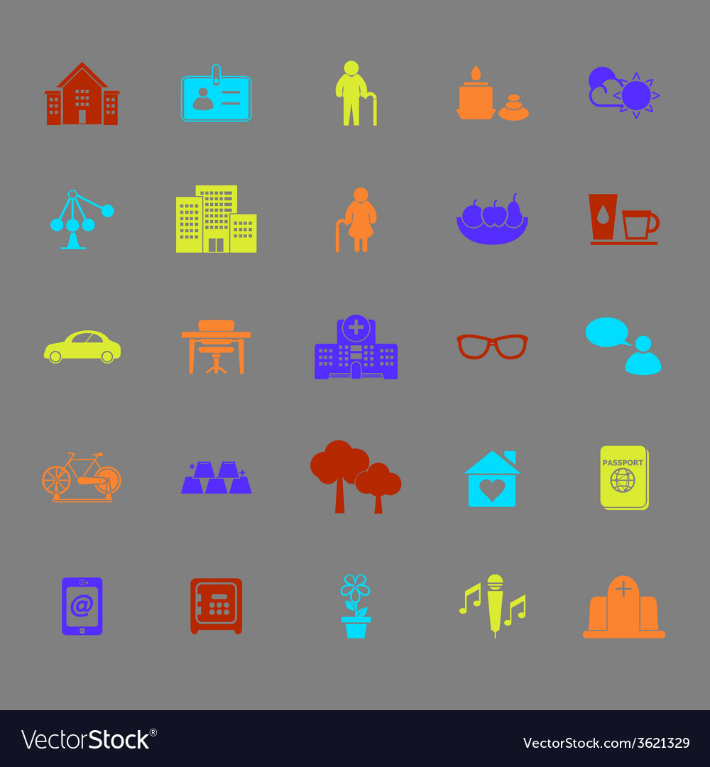 Retirement community color icons vector | Price: 1 Credit (USD $1)