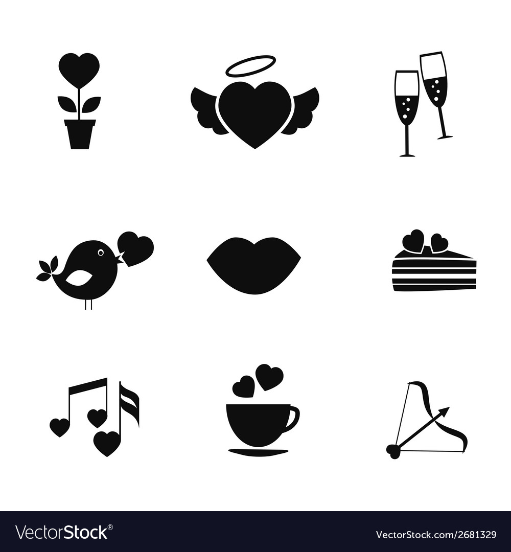 Set of love and romance icons vector | Price: 1 Credit (USD $1)