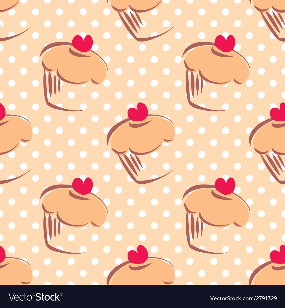 Tile pattern with cupcakes and polka dots vector | Price: 1 Credit (USD $1)