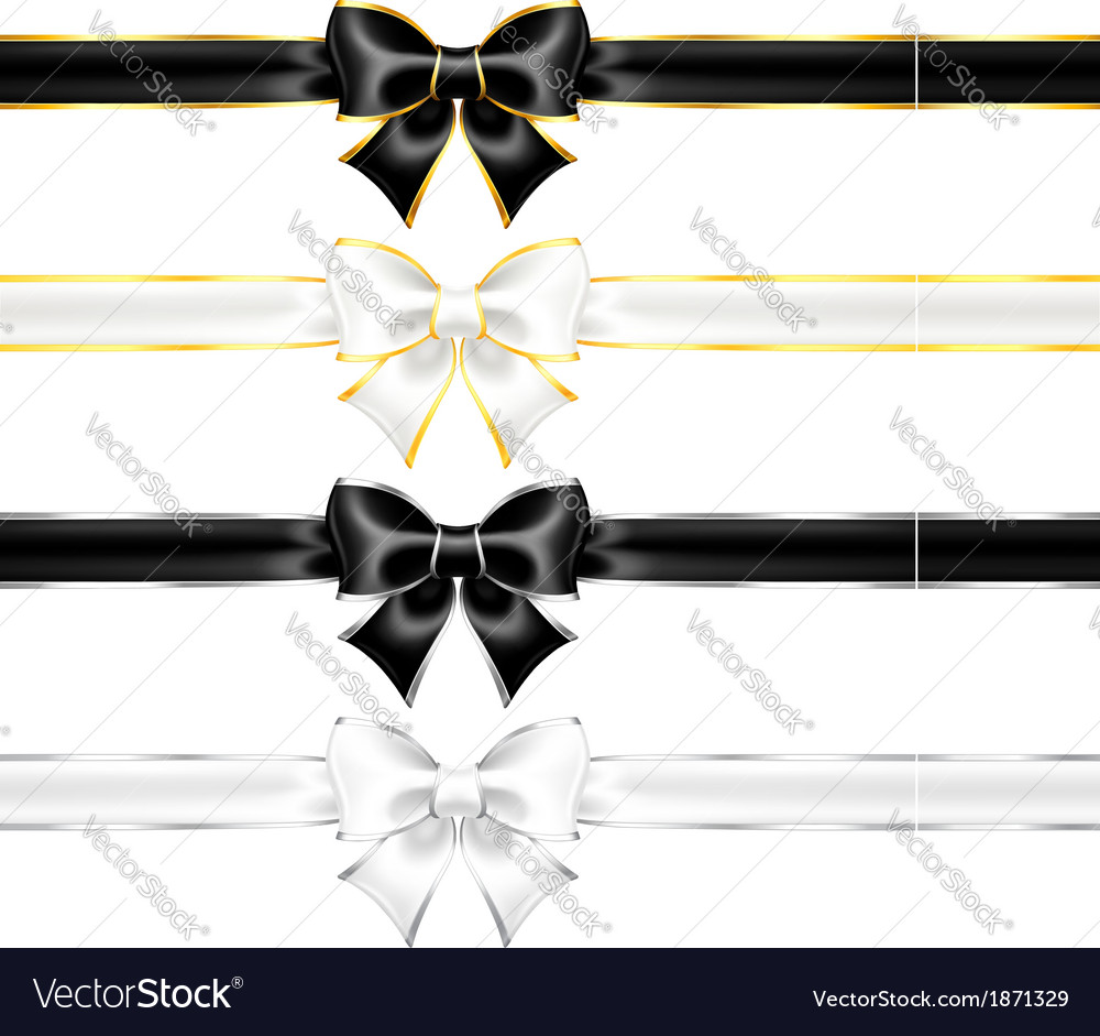 White and black bows with gold and silver edging vector | Price: 1 Credit (USD $1)