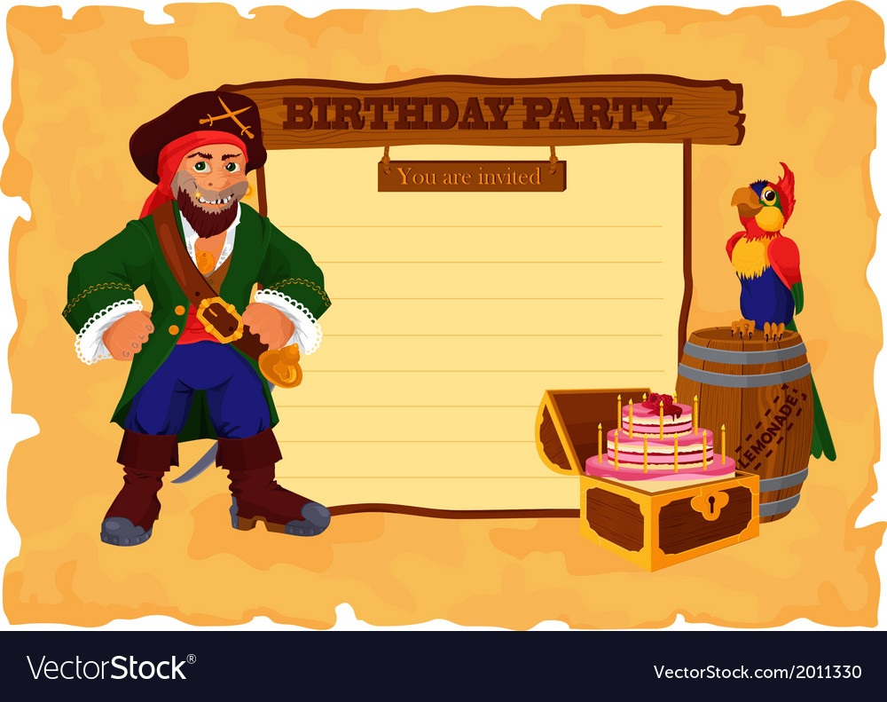 Birhday party card with pirate vector | Price: 1 Credit (USD $1)