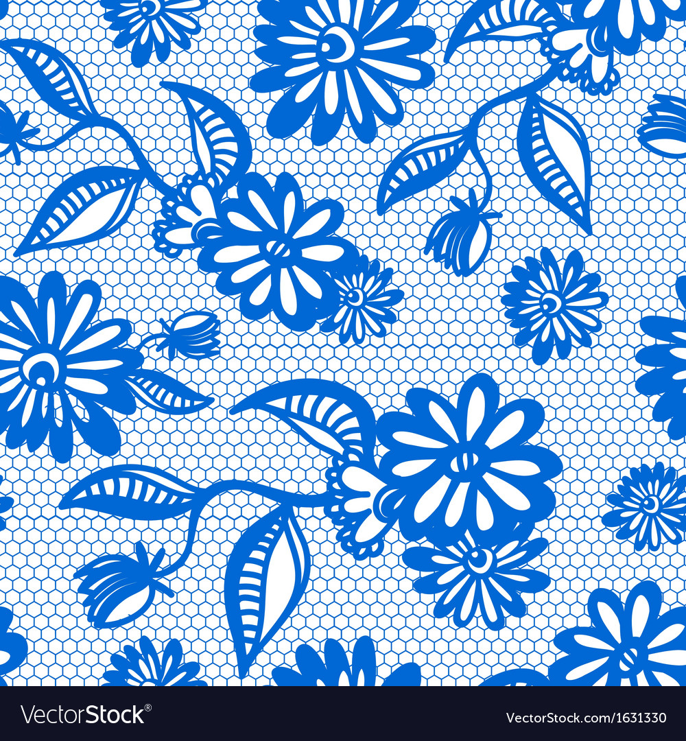 Blue seamless floral vintage lace background vector | Price: 1 Credit (USD $1)