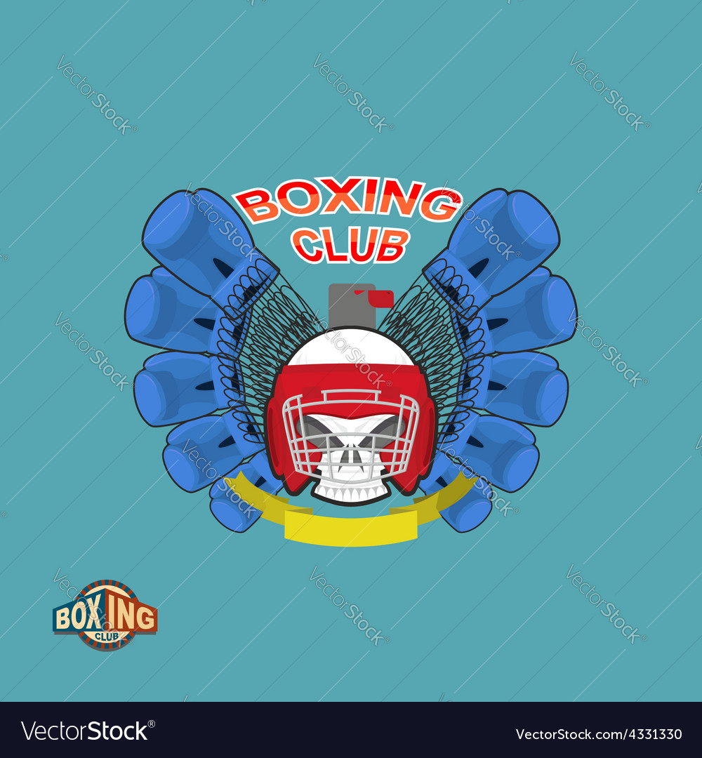 Boxing labels skull in a boxing helmet with gloves vector | Price: 1 Credit (USD $1)