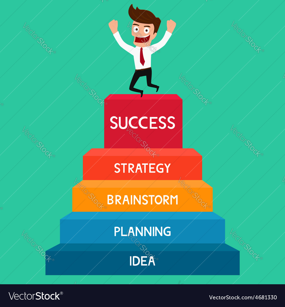 Businessman going up to success staircase success vector | Price: 1 Credit (USD $1)
