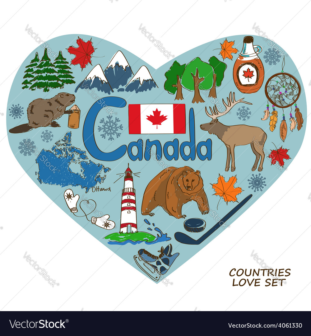 Canadian symbols in heart shape concept vector | Price: 1 Credit (USD $1)