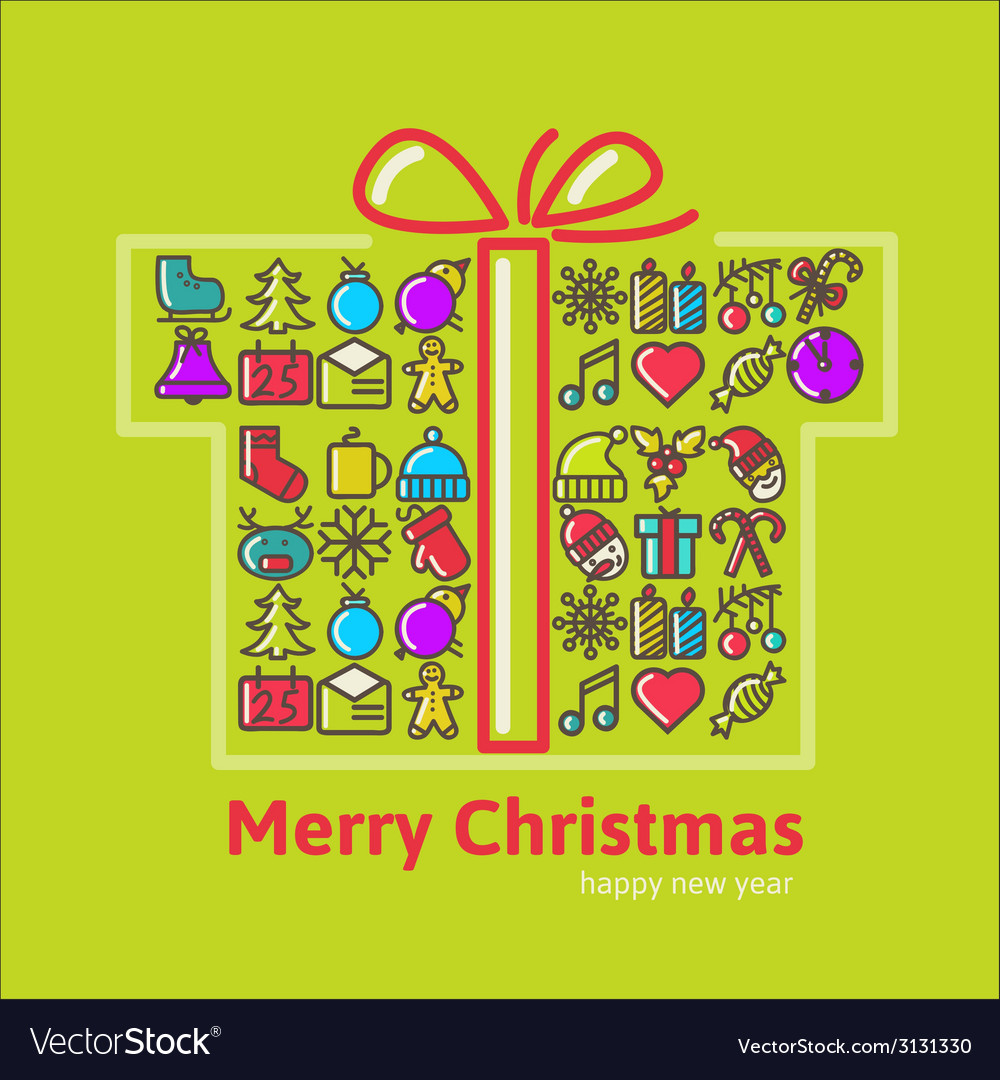 Christmas gift boxes made from icon vector | Price: 1 Credit (USD $1)