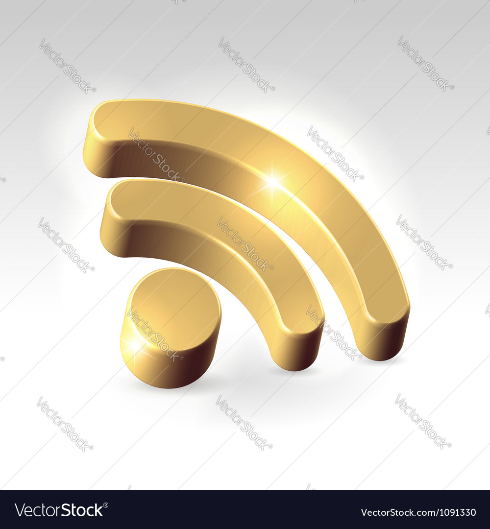 Golden rss feed icon vector | Price: 1 Credit (USD $1)