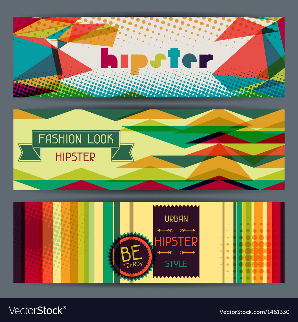 Hipster horizontal banners in retro style vector | Price: 3 Credit (USD $3)