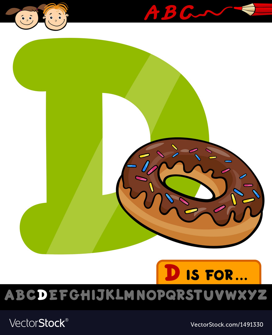 Letter d with donut cartoon vector | Price: 1 Credit (USD $1)