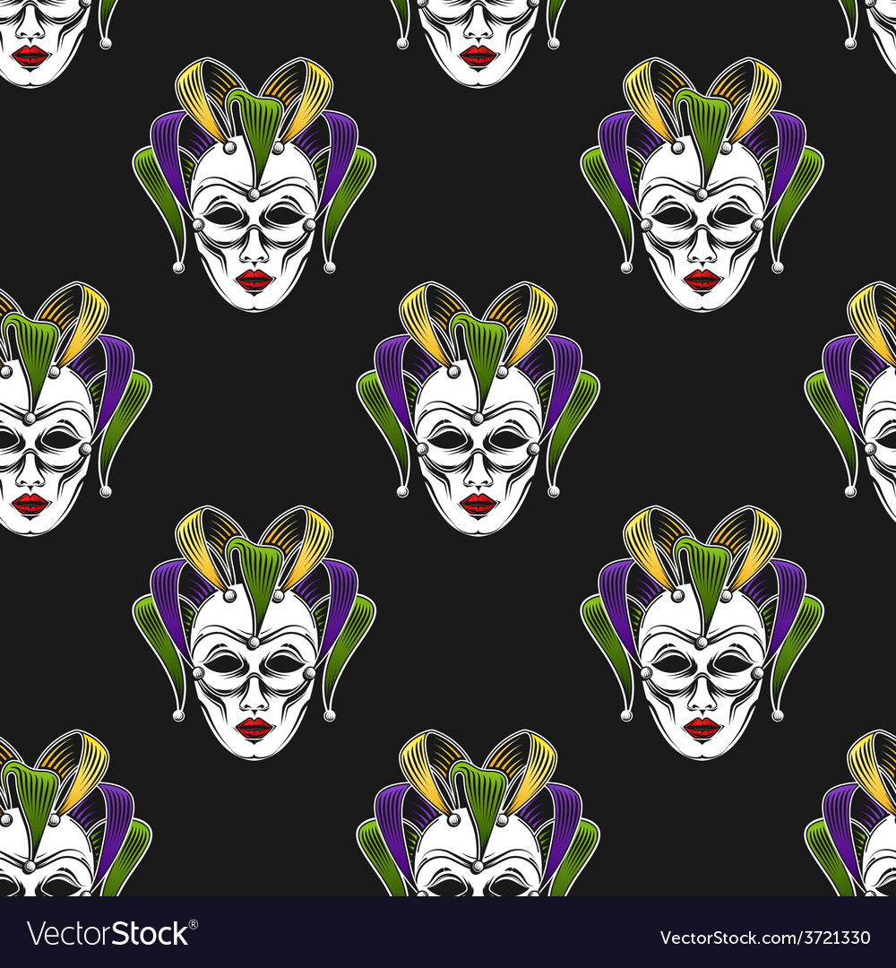 Mardi gras mask seamless pattern vector | Price: 1 Credit (USD $1)