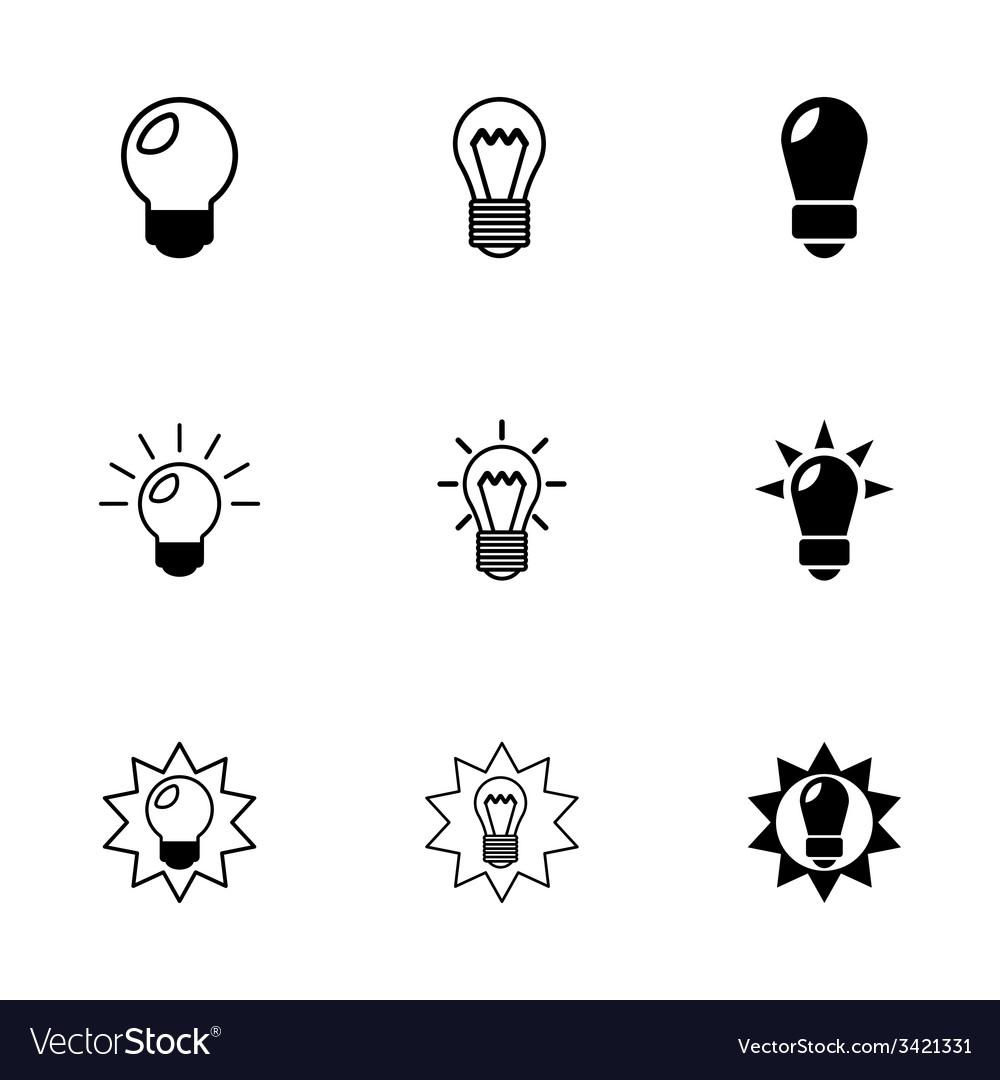 Black bulbs icon set vector | Price: 1 Credit (USD $1)