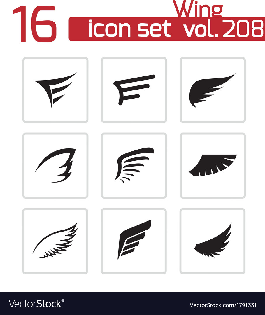 Black wing icons set vector | Price: 1 Credit (USD $1)