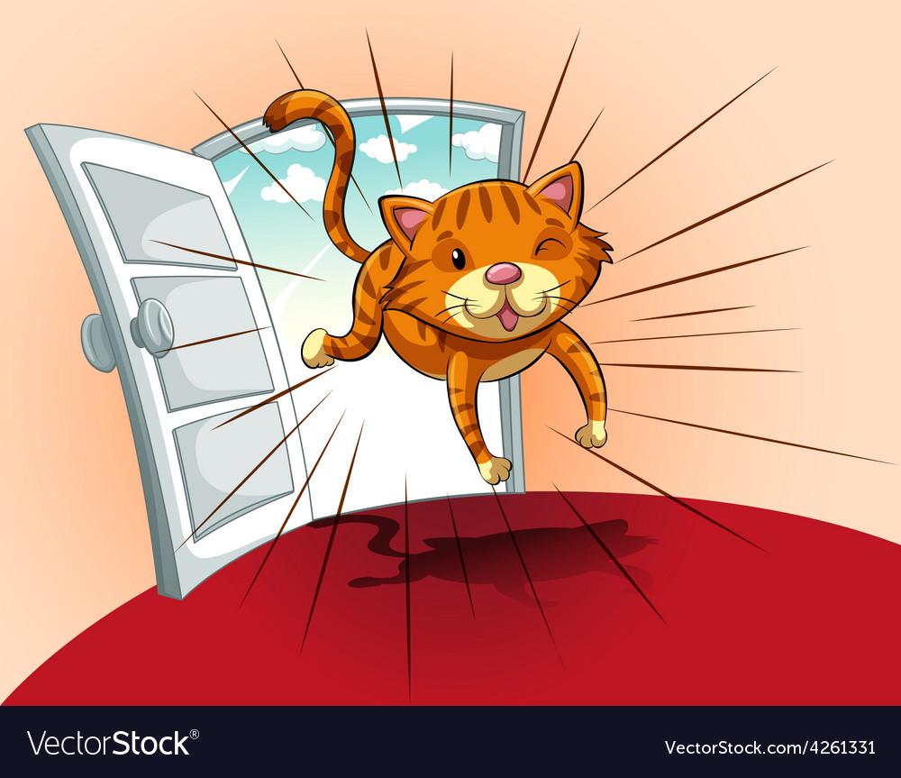 Cat running vector | Price: 1 Credit (USD $1)