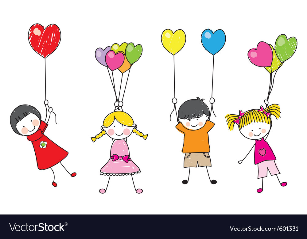 Children playing with balloons vector | Price: 1 Credit (USD $1)
