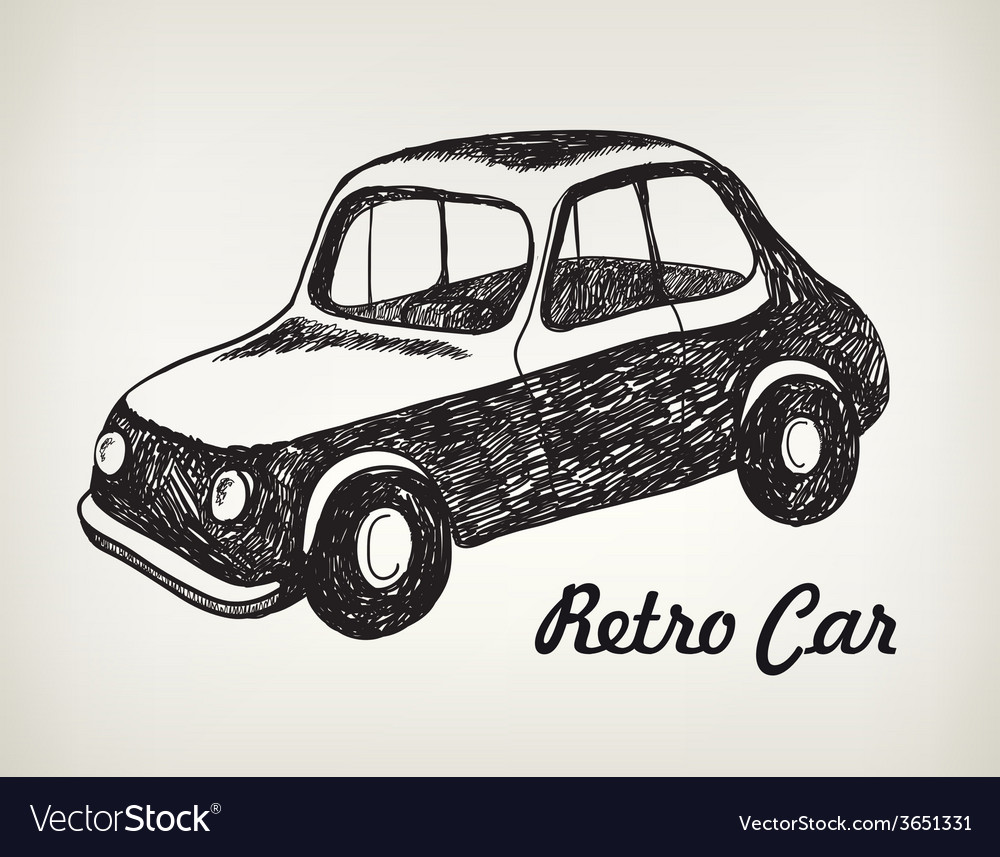 Doodle black and white hand drawn retro car vector | Price: 1 Credit (USD $1)