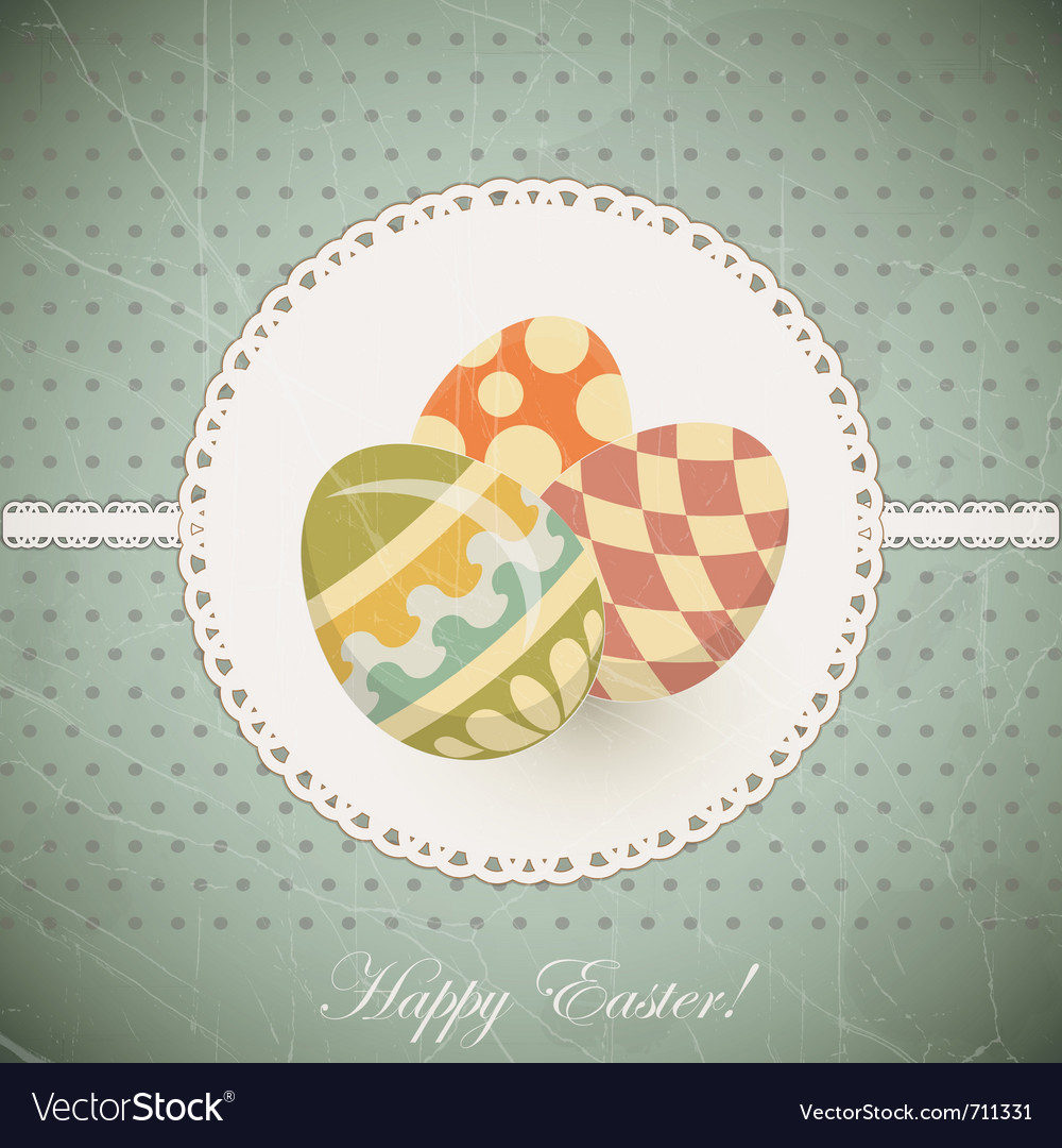 Easter eggs - old postcard in vintage style - vector | Price: 1 Credit (USD $1)