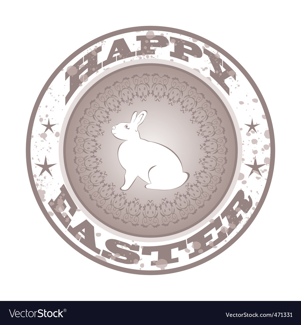 Easter grunge stamp with bunny vector | Price: 1 Credit (USD $1)