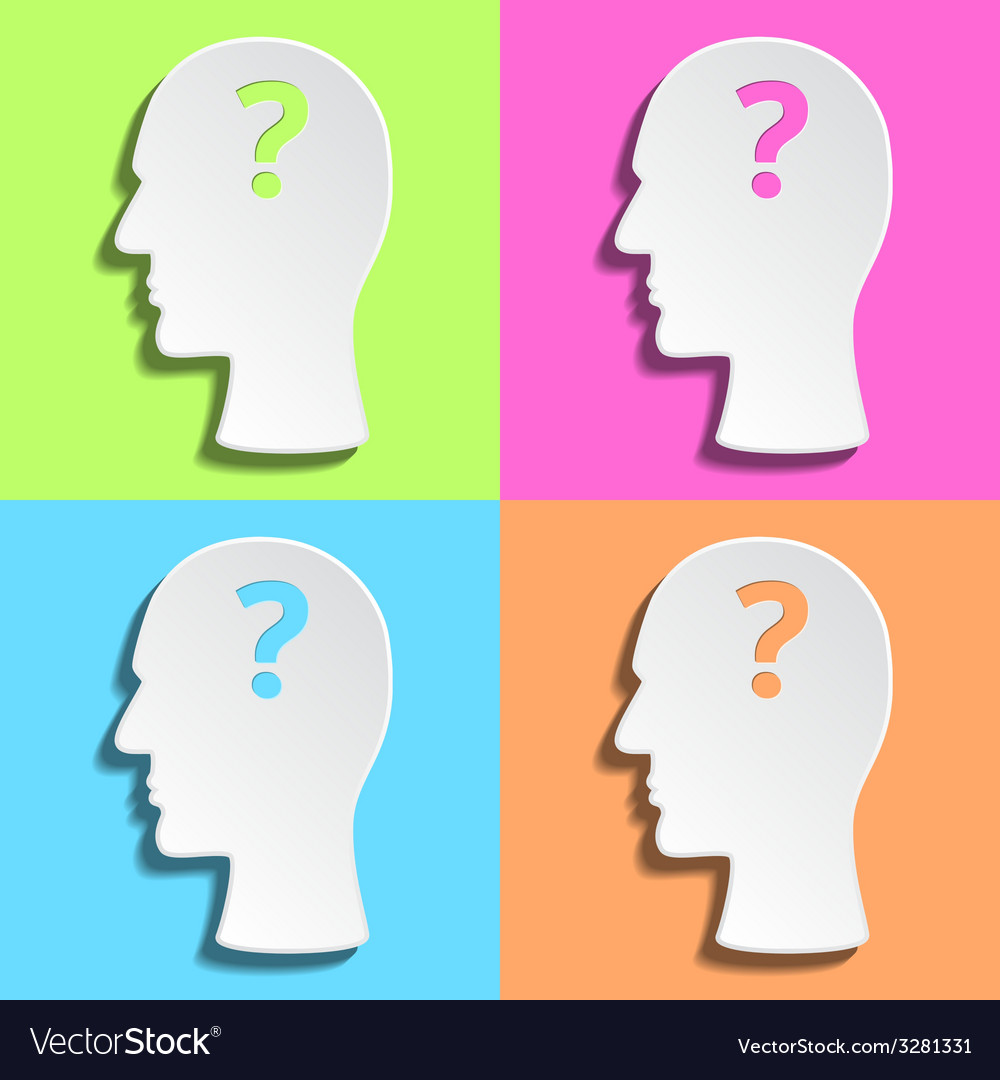 Flat mans head with question mark inside vector   Price: 1 Credit (USD $1)