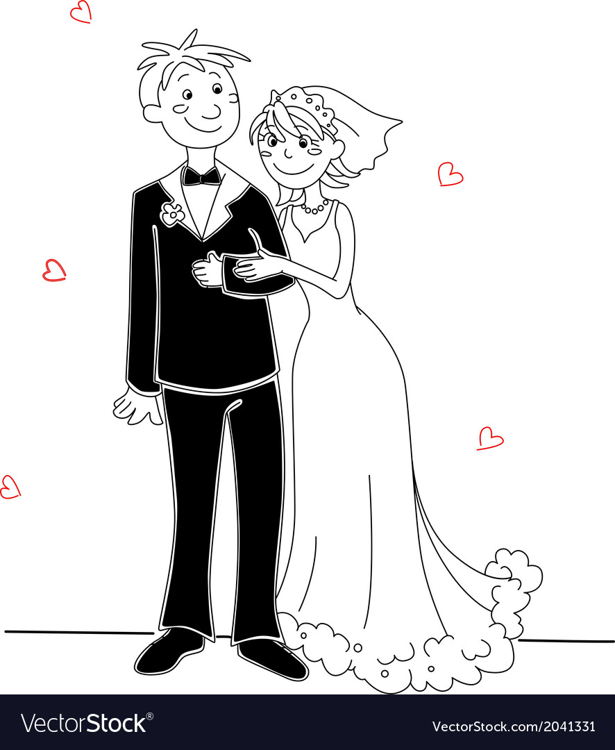 Funny bride and groom vector | Price: 1 Credit (USD $1)