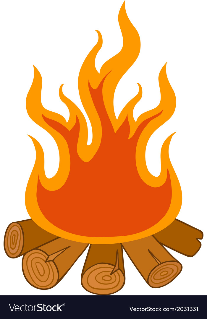 Isolated camp fire on white background vector | Price: 1 Credit (USD $1)