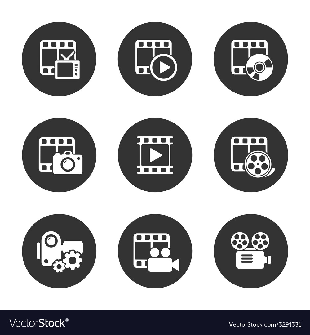 Media icon pack on black background vector | Price: 1 Credit (USD $1)