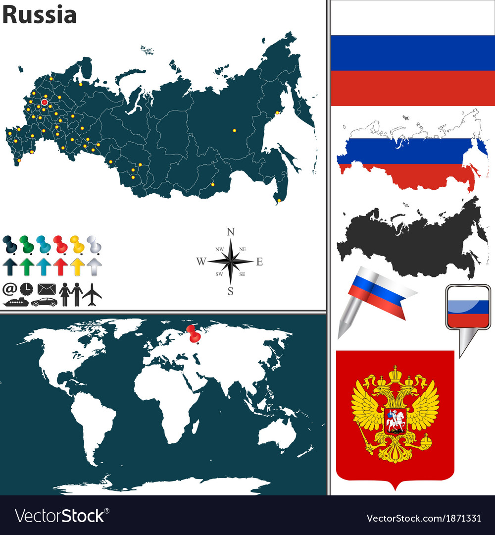 Russia map world vector | Price: 1 Credit (USD $1)