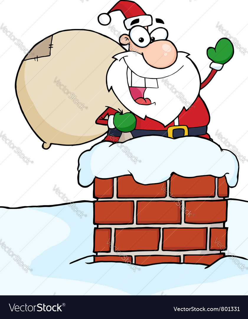 Santa claus in chimney waving vector | Price: 1 Credit (USD $1)
