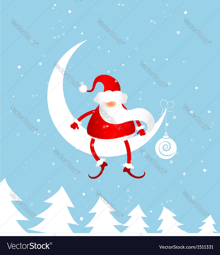 Santa claus on moon vector | Price: 1 Credit (USD $1)