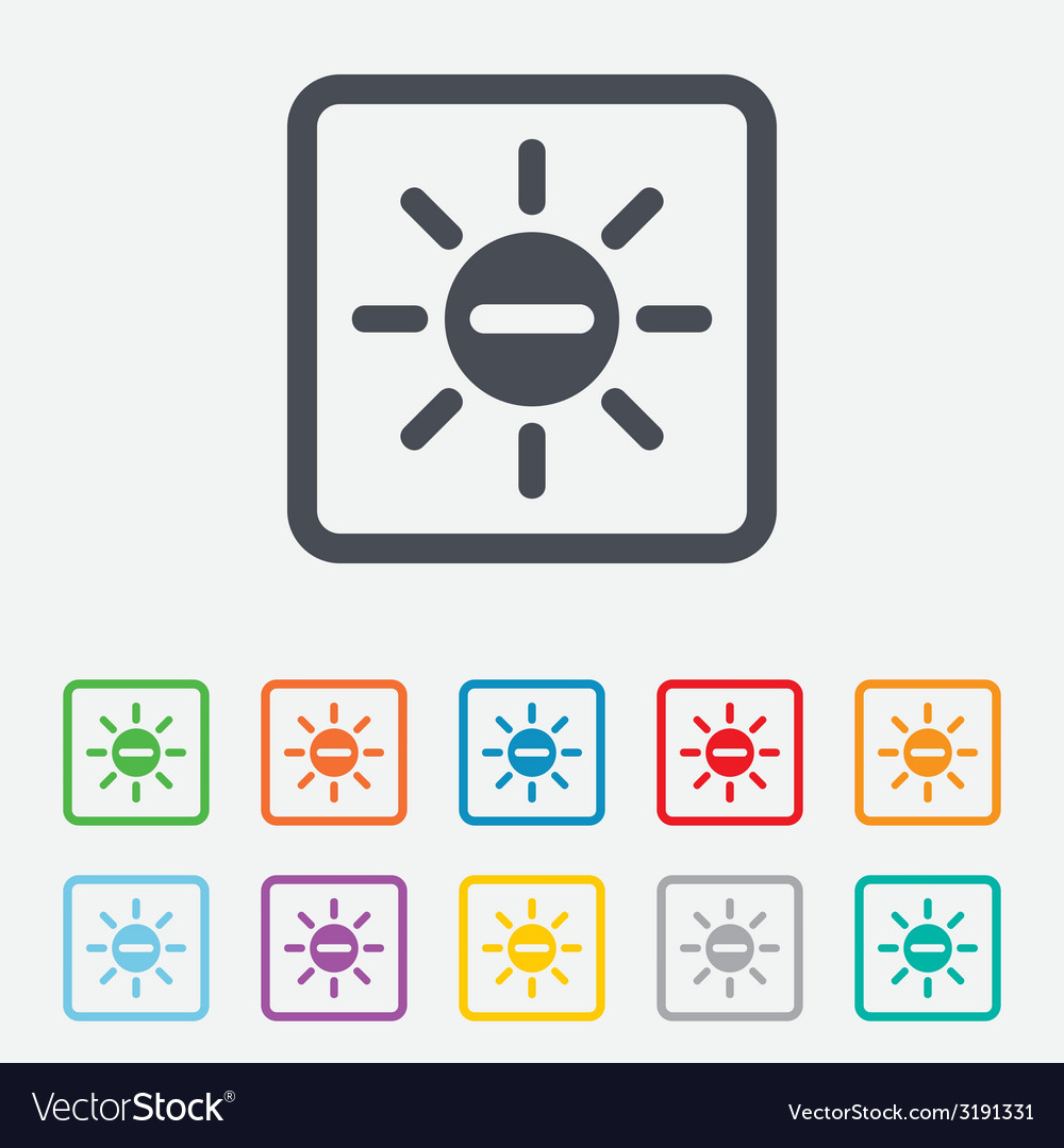 Sun minus sign icon heat symbol brightness vector | Price: 1 Credit (USD $1)