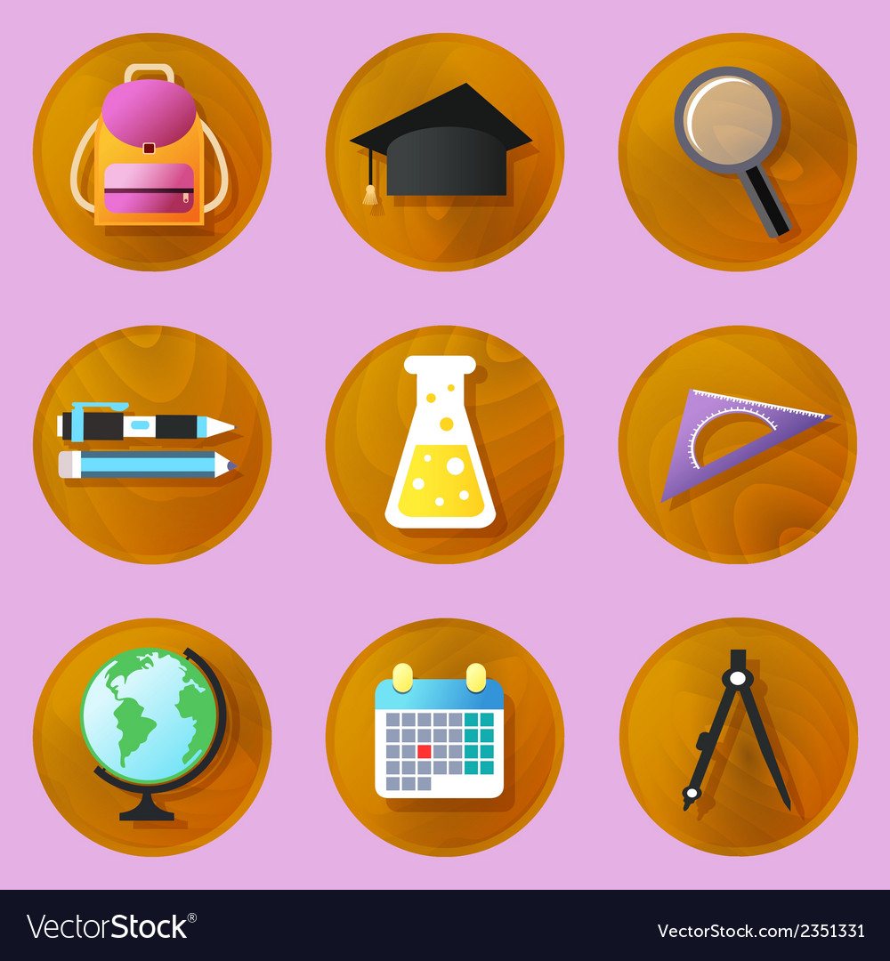 Wooden education icons vector | Price: 1 Credit (USD $1)