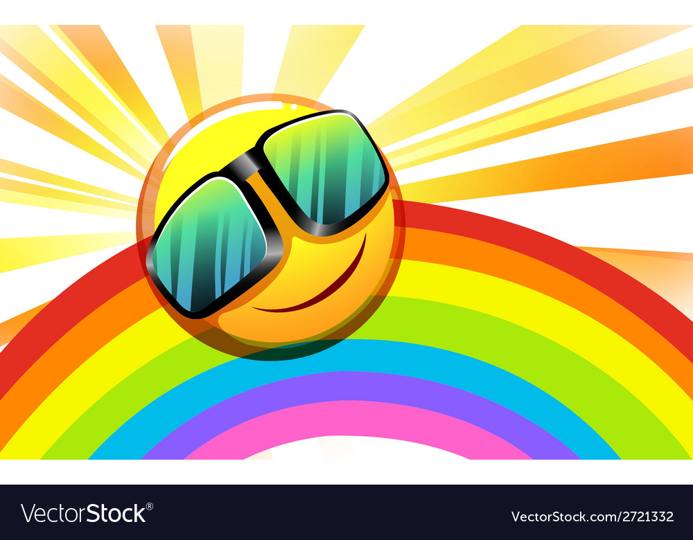 A rainbow with a smiling sun vector | Price: 1 Credit (USD $1)