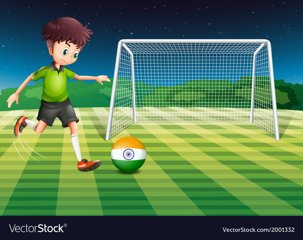 An athlete kicking the ball with the flag of india vector | Price: 3 Credit (USD $3)