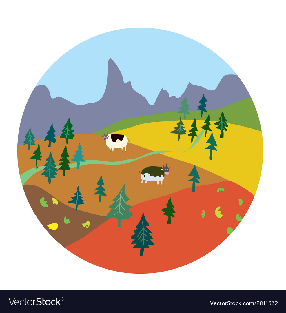 Autumn landscape for mountain farm vector | Price: 1 Credit (USD $1)