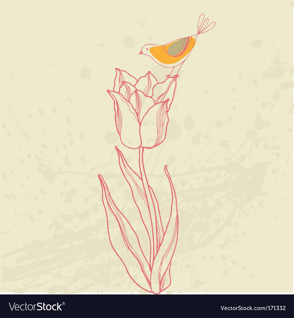 Bird on flower card vector | Price: 1 Credit (USD $1)