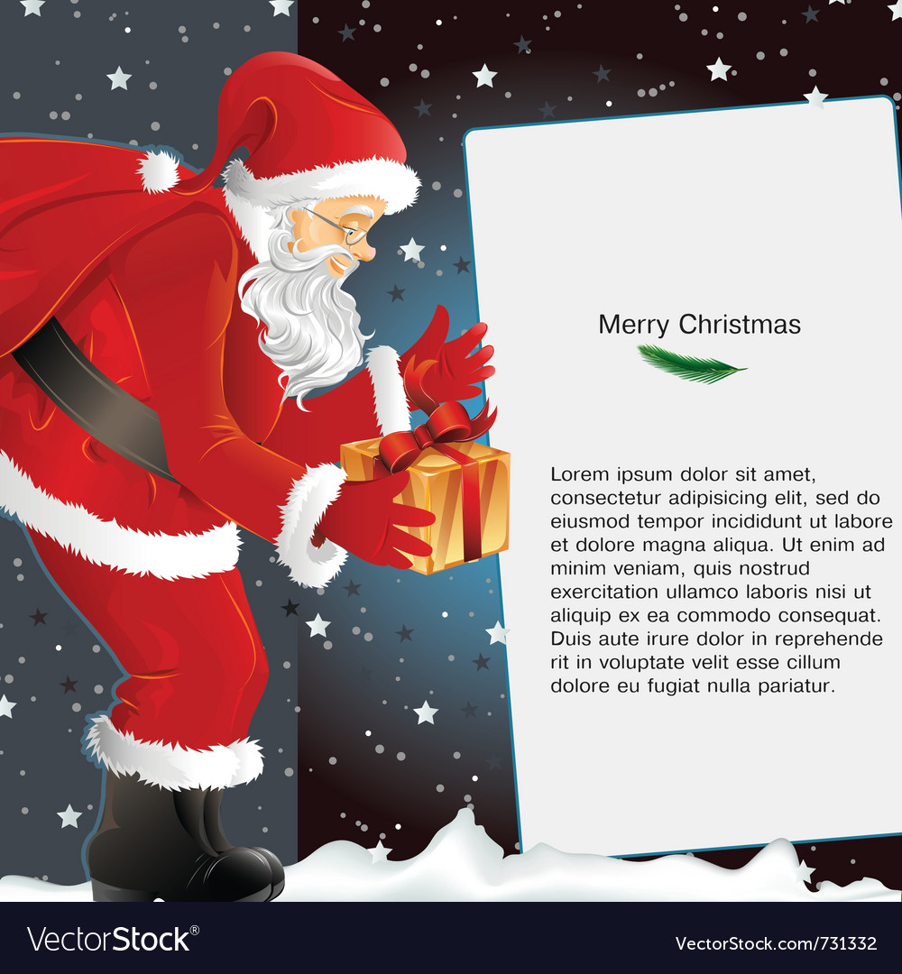 Christmas background with santa holding gift vector | Price: 1 Credit (USD $1)