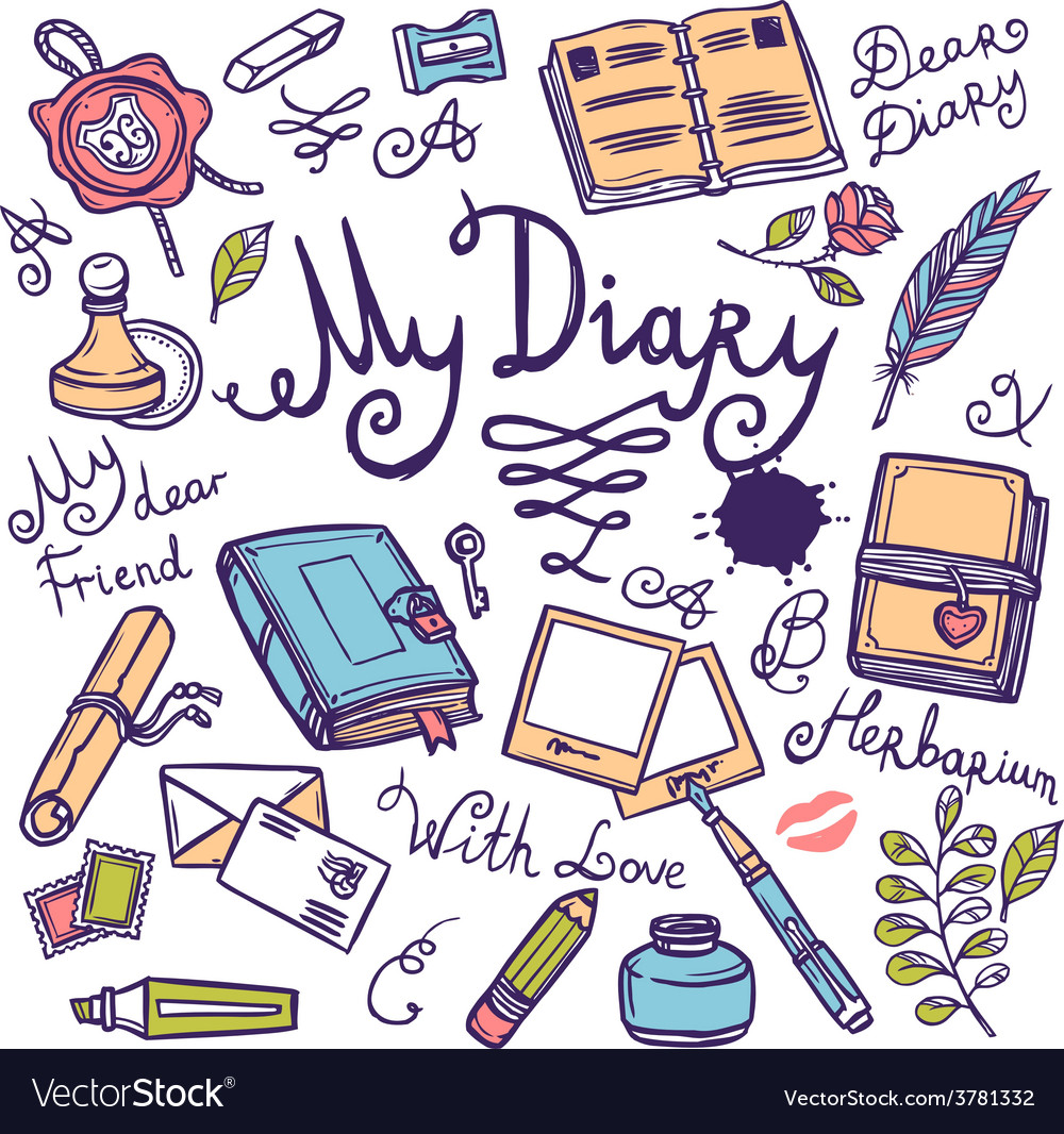Diary writing instrument set vector | Price: 1 Credit (USD $1)