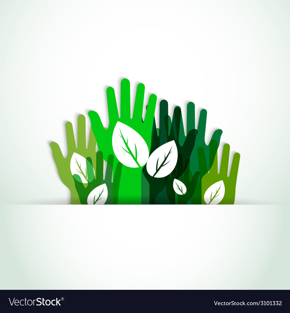 Ecological hands up vector | Price: 1 Credit (USD $1)