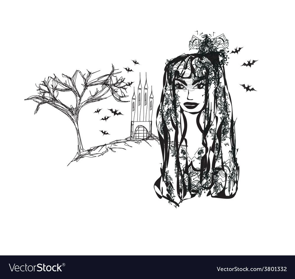 Halloween witch - doodle grunge portrait vector | Price: 1 Credit (USD $1)