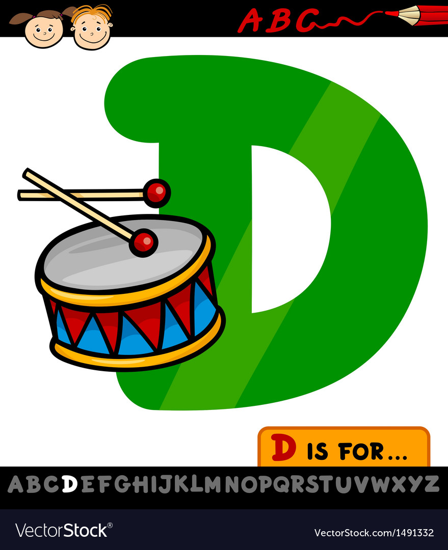 Letter d with drum cartoon vector | Price: 1 Credit (USD $1)