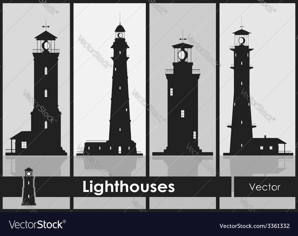 Lighthouses set of silhouettes of large vector | Price: 1 Credit (USD $1)