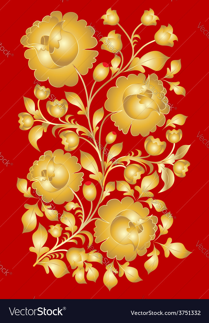 Russian national pattern style khokhloma vector | Price: 1 Credit (USD $1)