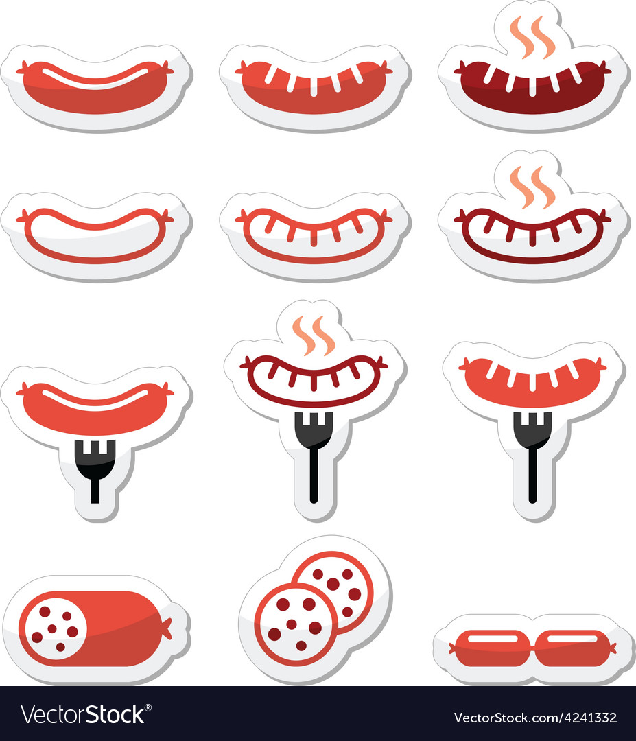 Sausage grilled with fork colorful icons set vector