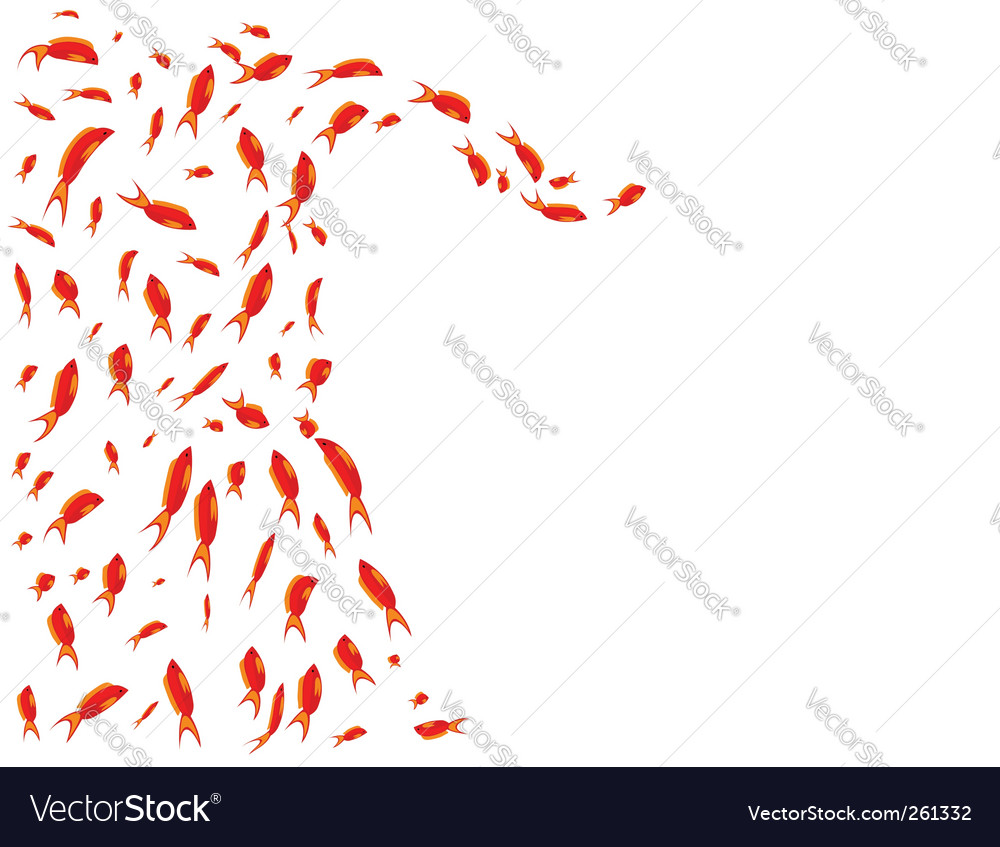Seascape background flock of fish vector | Price: 1 Credit (USD $1)