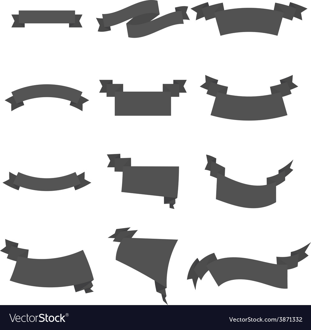 Set of grey business ribbons vintage style vector | Price: 1 Credit (USD $1)